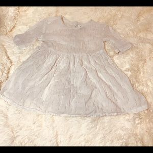 5 for $25🌸Girls 4t white w/ gold speckle dress.